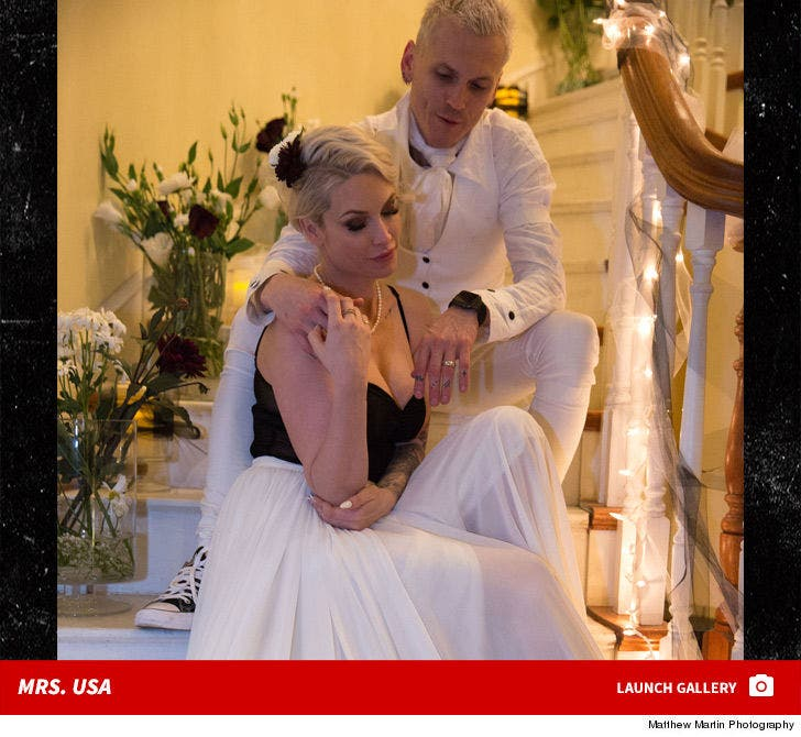Tara Conner and Eli James -- White Wedding Photos