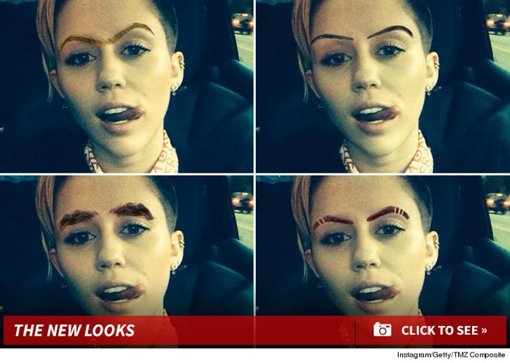 Miley's New Look -- Don't Have A Brow, Man!
