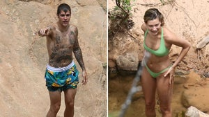Justin and Hailey Bieber Go Swimming In A Creek in Utah