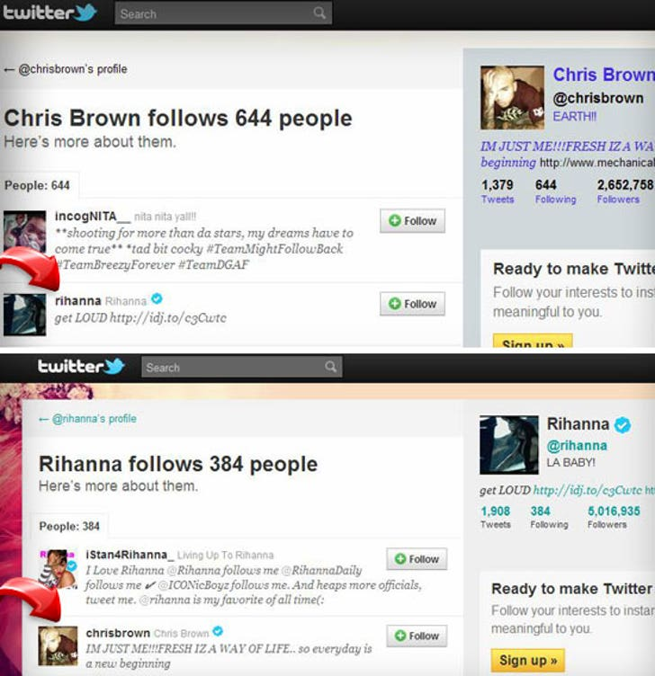Chris Brown And Rihanna Following Each Other On Twitter