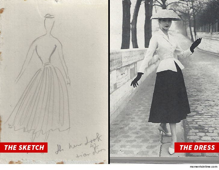 Christian Dior S First Sketch Of Famous New Look Going Up For Sale