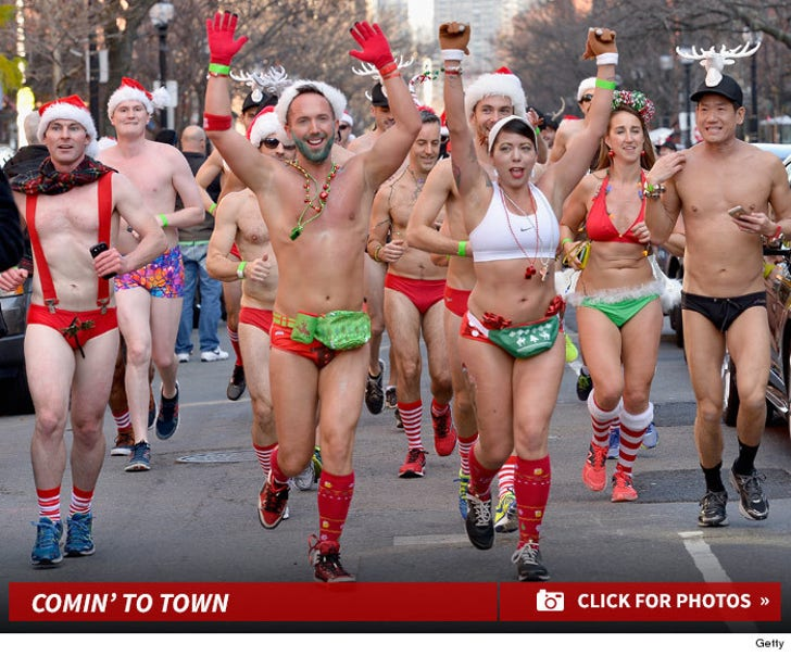 Sexy Santas -- Go Running in Speedos!