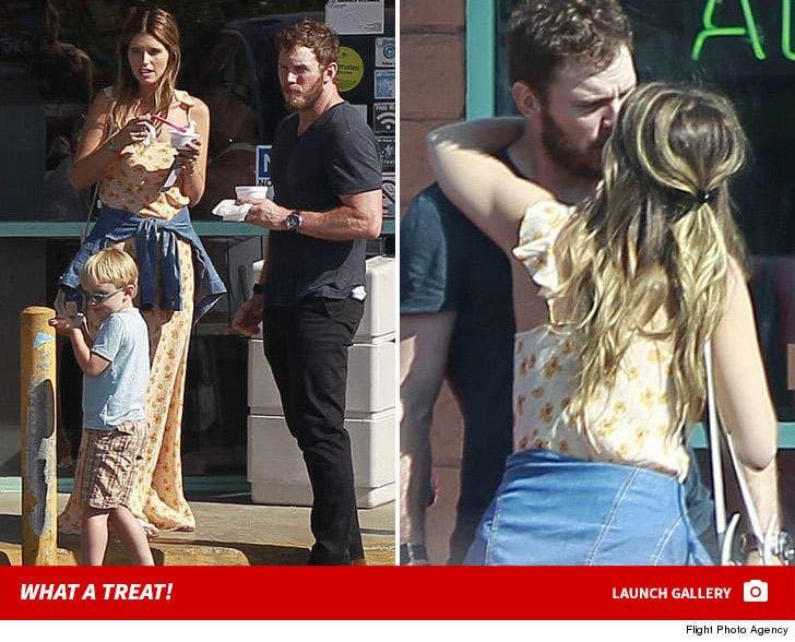 Chris Pratt & Katherine Schwarzenegger Kiss After Church with Son Jack Nearby