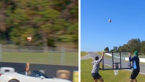 Insane Ferrari Trick Shot -- Dude Sinks Basket at 140 MPH!!! (VIDEO)