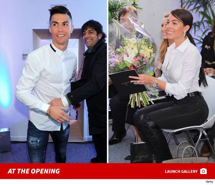 Cristiano Ronaldo And Georgina Rodriguez At Hair Transplant Clinic Opening