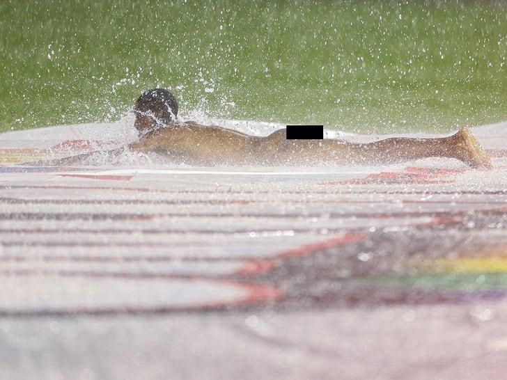 Streaker Hits The Field During Natonals Rain Delay