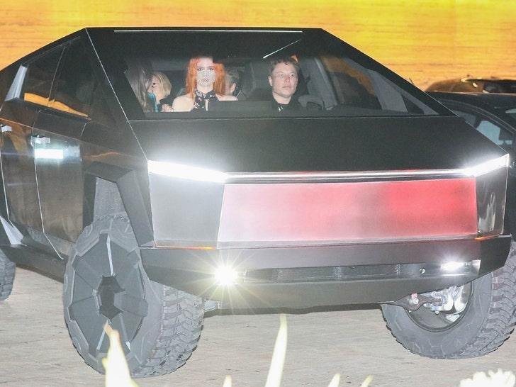 Elon Musk at Nobu with new Cybertruck