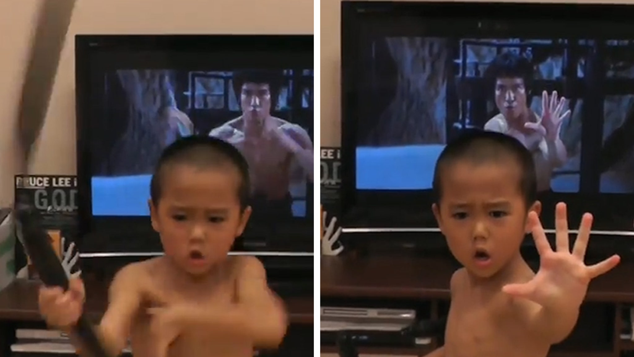 Bruce Lee Little Kid Matches Nunchuck Routine ... Down to a T!!!
