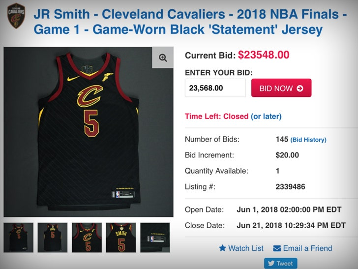 sneakers for cheap 7cee0 25a07 J.R. Smith's NBA Finals Game 1 Meltdown Jersey Sells for $23k