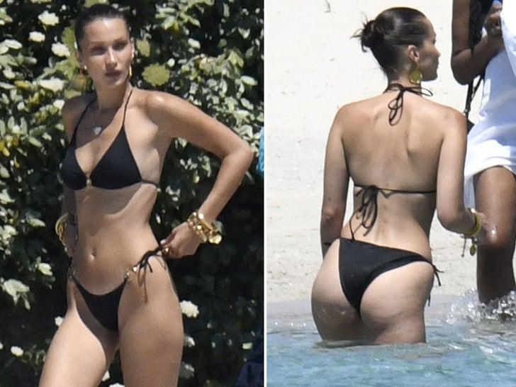 Bella Hadid Modeling Tiny Black Bikini in Corsica