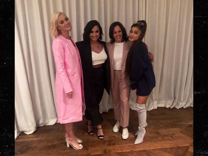 Kamala Harris Ca Fundraiser Crashed By Ariana Grande Katy Perry Demi Lovato
