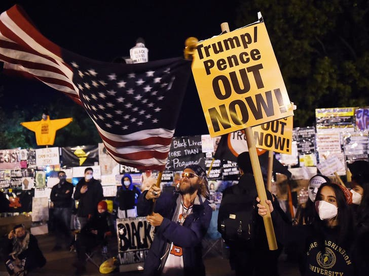 Protesters Outside The White House On Election Night