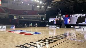 NBA's Bubble Court Shows 'Black Lives Matter' Paint Job, Distanced Benches