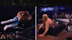 Shaquille O'Neal Destroys Tables, Gets Tag Team Win In Wild AEW Match!