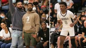 Drake & Michael B. Jordan Attend LeBron James' Son Bronny's HS Hoops Game