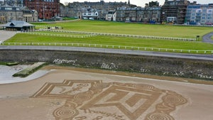 Tiger Woods Gets Amazing Sand Art Tribute at Legendary St. Andrews Golf Course