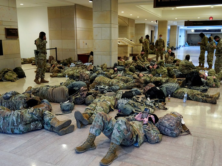 Armed National Guard Sleeping On Capitol Floor