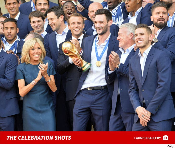 Emmanuel Macron and French Futball Team Celebrate After World Cup Win