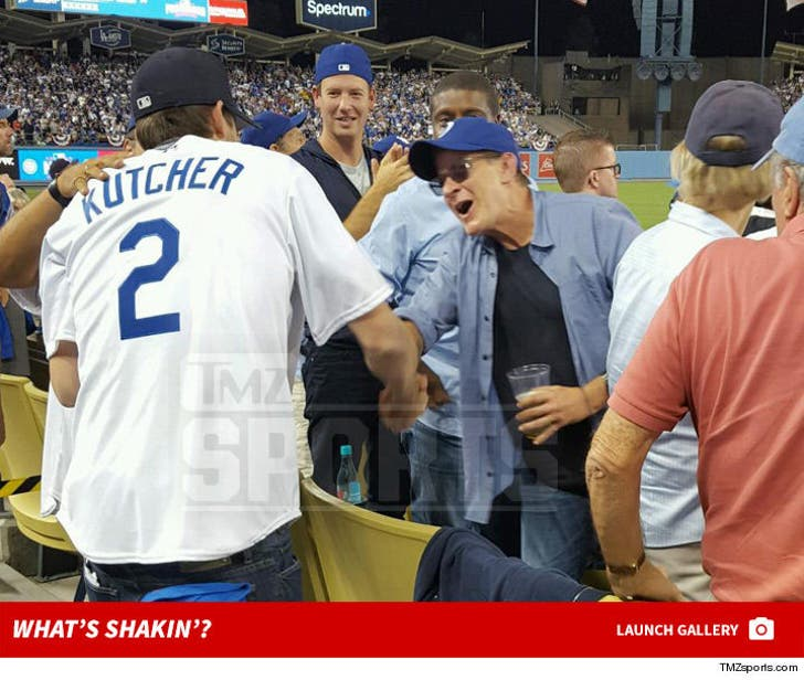 Charlie Sheen & Ashton Kutcher -- Back On the Same Team ... Bro Out At Dodgers Game