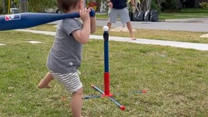 Bryce Harper's 1-Year-Old Son Crushes Tee Ball Home Run, Swings Just Like Dad!