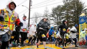 Boston Marathon Runners Soaked & Trash Baggin' in Crazy Rain Storm