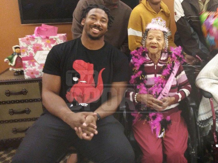 Myles Garrett Celebrates Great Great Grandma's 100th bday