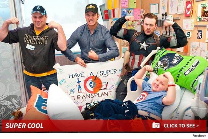 Chris Pratt and Chris Evans Visit Children's Hospital