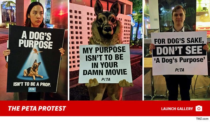 Peta protesting A Dog's Purpose
