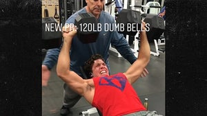 Joseph Baena Looks Like His Dad Lifting Huge Dumbbells in the Gym
