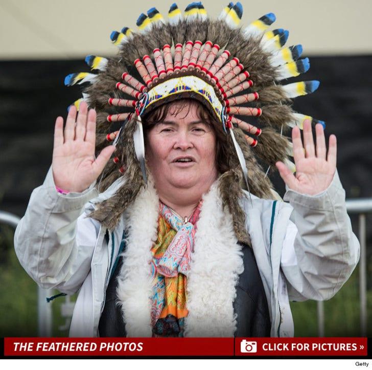Susan Boyle Rufflin' Feathers With Native American War Bonnet