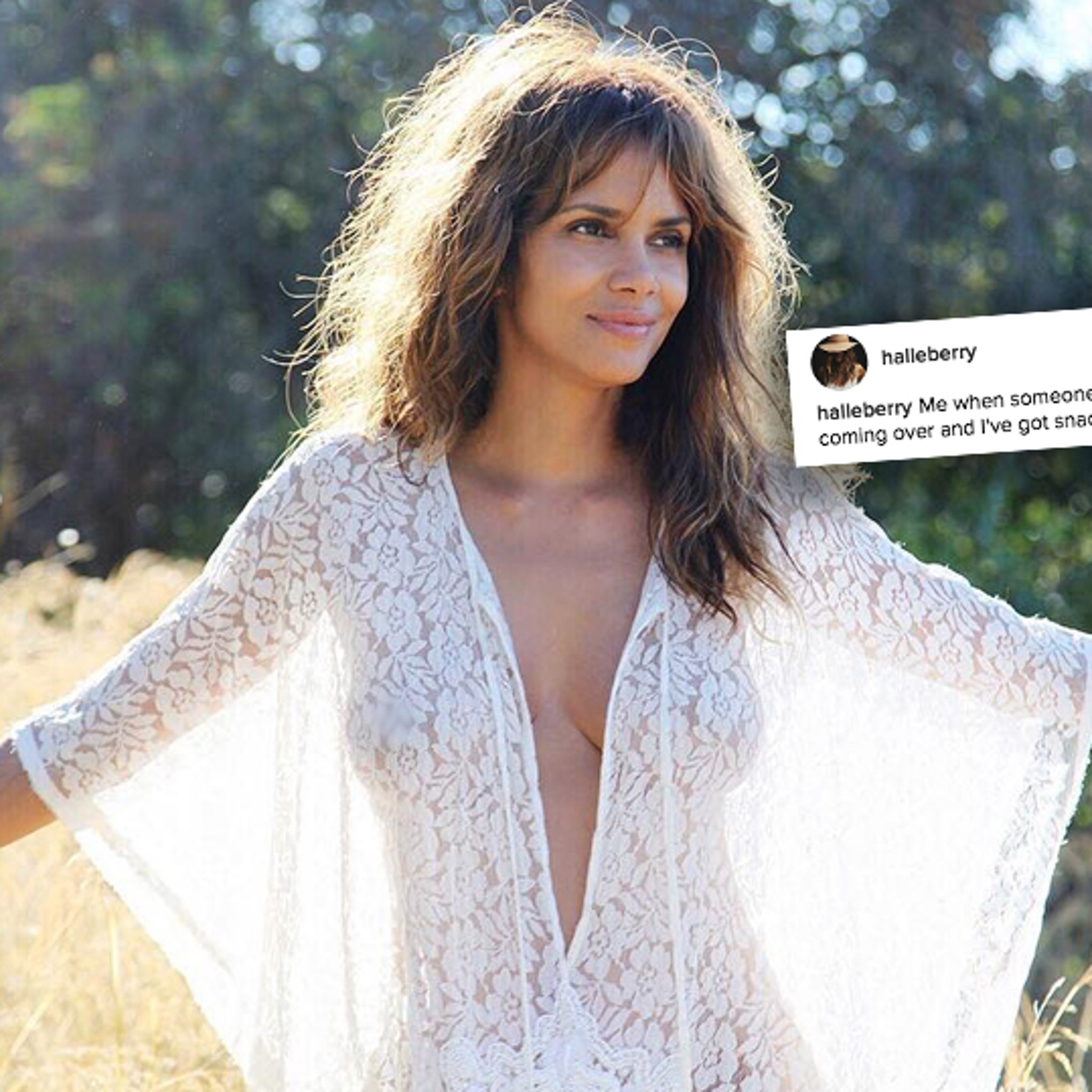 Halle Berry Posts Topless Pic, But Only for Snacks