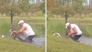 Man Saves Puppy from Alligator by Prying Jaws Open Barehanded