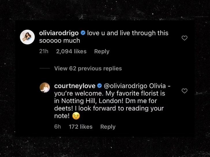 Courtney Love and Olivia Rodrigo Instagram comments