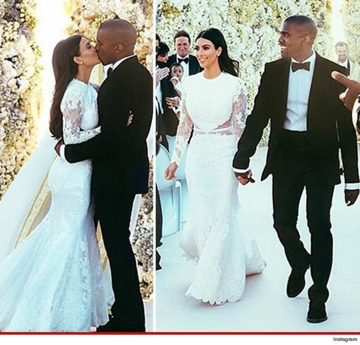 Kim K Wedding Gown: Kim Kardashian & Kanye West's First Kiss ... NO TONGUE