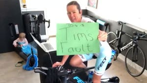 Ironman Champ Loses Virtual Race After Husband Trips Over Cord, 'What An Idiot'