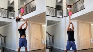 Dad Helps Daughter Practice Cheerleading at Home, Simone Biles Likes