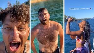 Patrick Mahomes & Travis Kelce Boat Party In Lake Tahoe, GFs Twerk & Chug Beer!