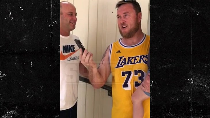 competitive price 5a2f5 bbf95 Dennis Rodman Calls Australian Fan Wearing His Lakers Jersey ...