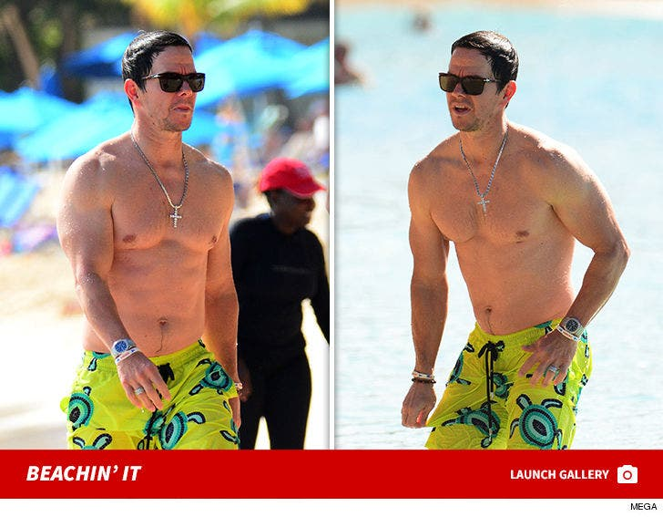 Mark Wahlberg hits the beach in Barbados after Christmas