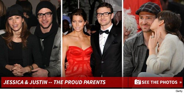 Jessica Biel & Justin Timberlake -- The Proud Parents