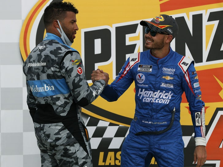 Bubba Wallace Congratulates Kyle Larson on NASCAR Win
