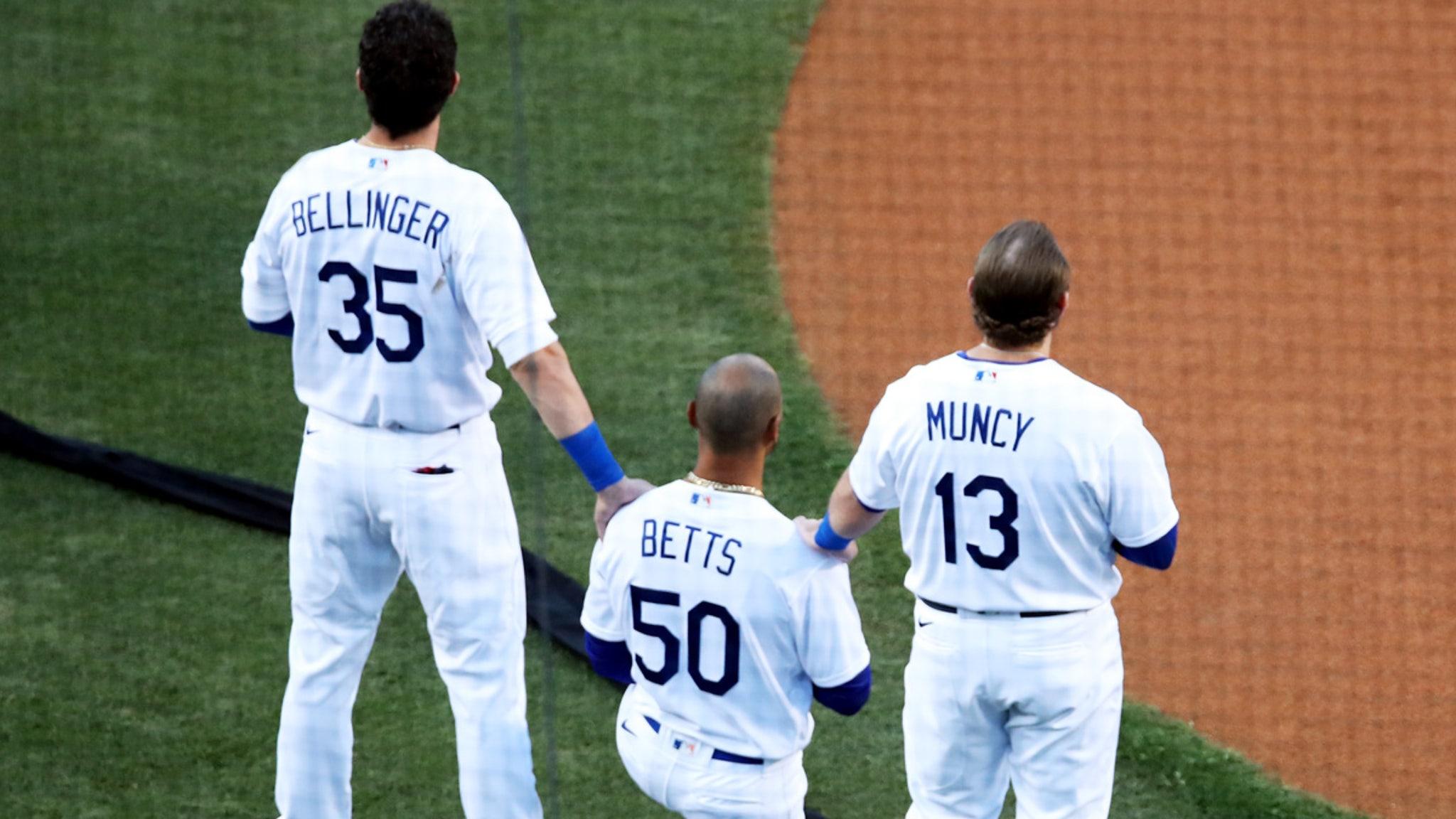 Dodgers Star Mookie Betts Kneels For National Anthem, Bellinger Shows Support