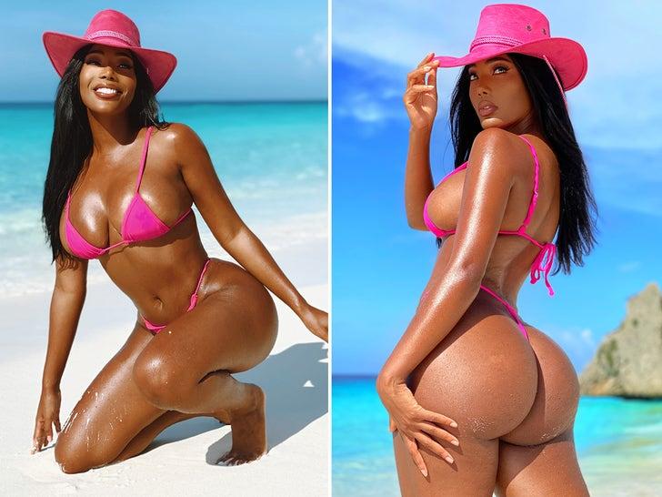 Monifa Jansen -- Brightens Up Curacao In Hot, Pink Bikini!