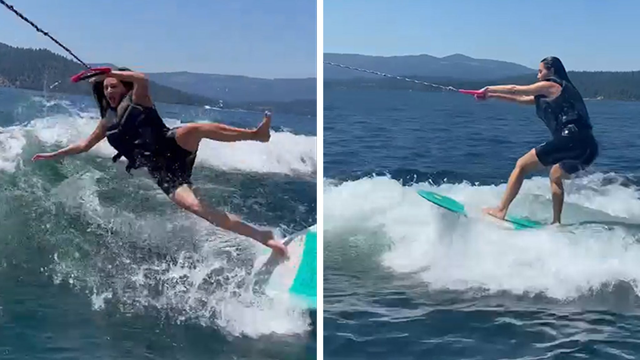 Kim Kardashian Wipes Out Wakeboarding in Idaho