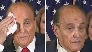 Rudy Giuliani's Hair Dye Running Down Face at Sweaty News Conference