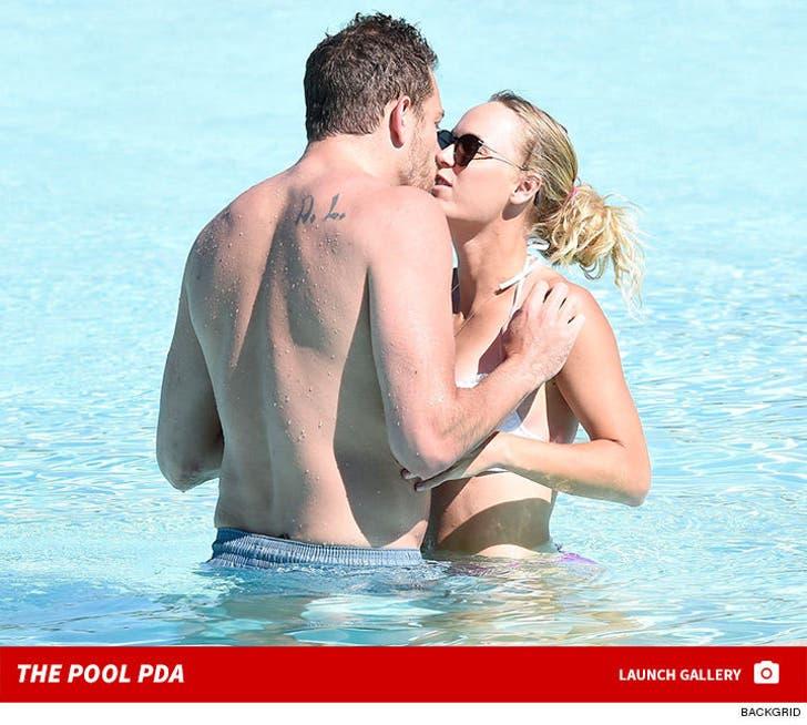 David Lee and Caroline Wozniacki -- Pool PDA in Italy