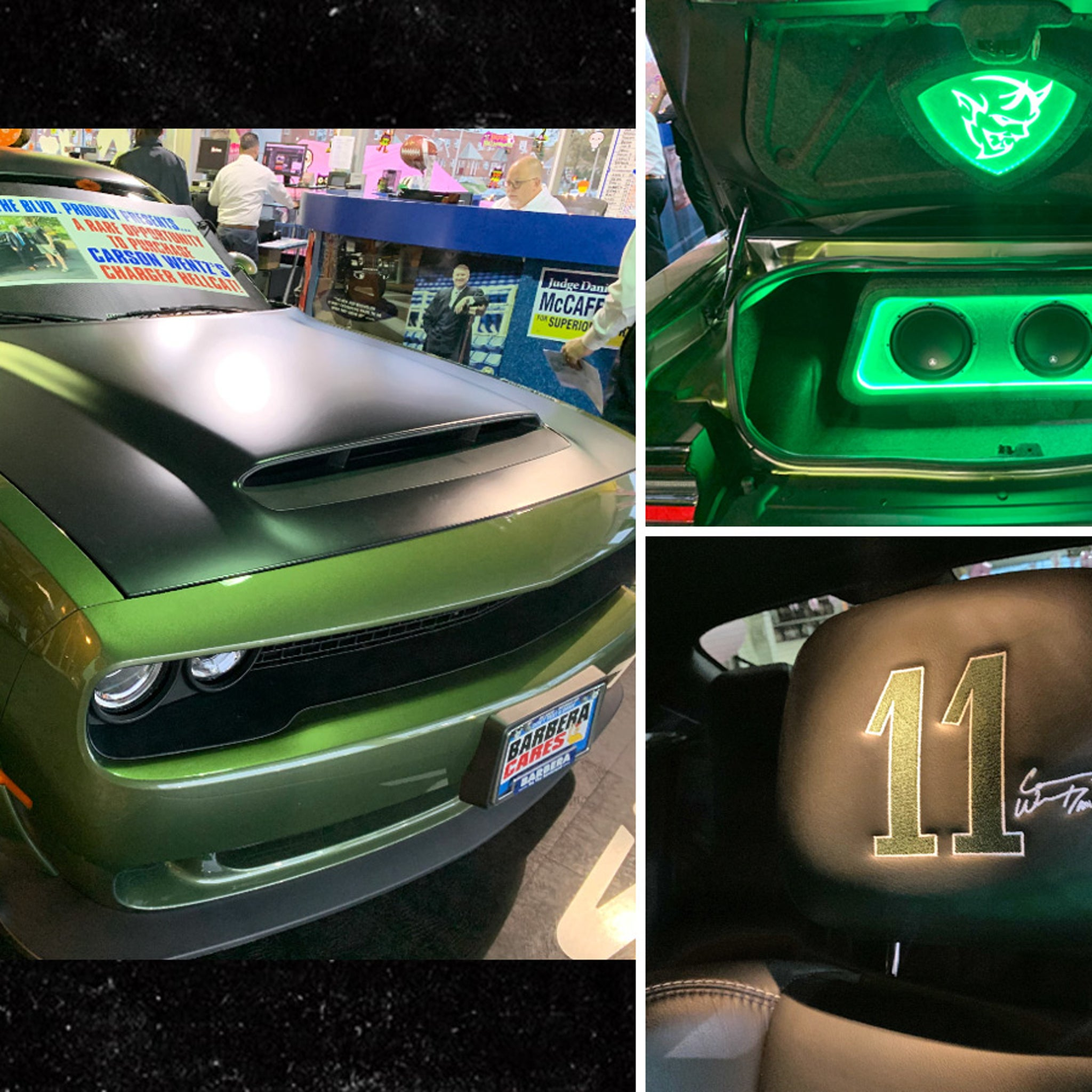 Carson Wentz Selling Custom Eagles Car Pimped Out Green Dodge Challenger