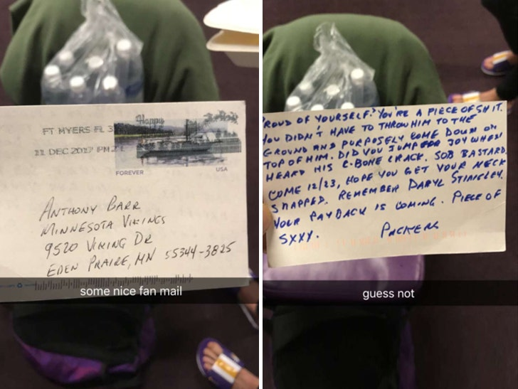 Vikings' Anthony Barr Gets Violent Hate Mail for Aaron