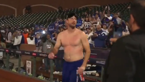 Max Scherzer Goes Topless On Field To Celebrate NLDS Win Over Giants