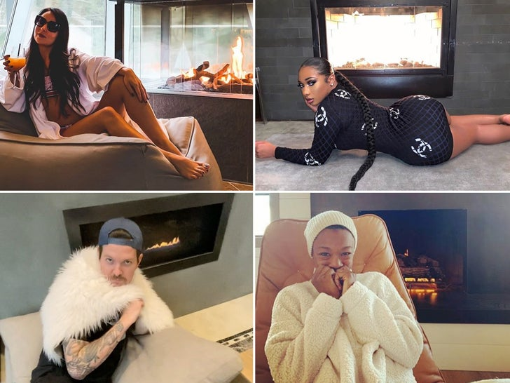 Stars Lounging By The Fire ... It's Lit!